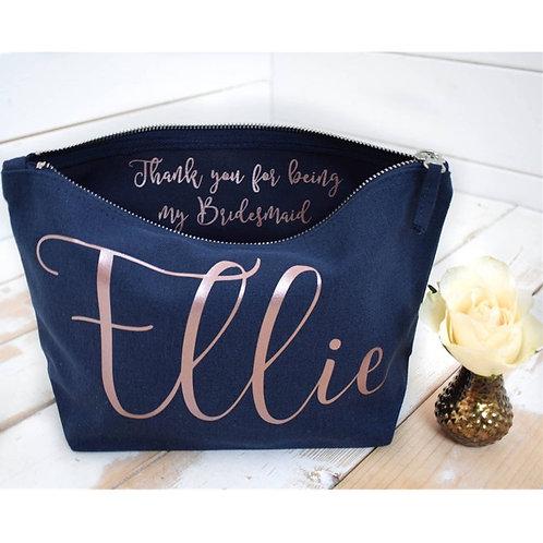 Personalised Thank You Gift - Bridesmaid Gift Make Up Bag - Wedding Makeup Bags