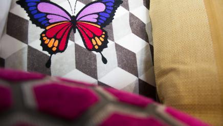 Papillon sur multiples coussins