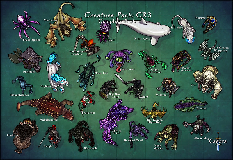 Monster Manual CR 3 - Complete Pack