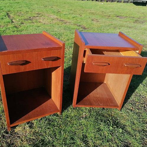 Pair of teak bedside cabinets