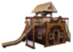 Дом Медведя, изготовляемый из дерева, стилизован под домик Мишки в мультфильме Маша и Медведь и является многофункциональным комплексом для детского отдыха