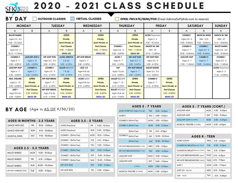 2020-2021 CLASS SCHEDULE + POLICIES & FE