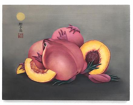 Noriko Sugita   Peachfrog   oil on board   25.4 x 30.48cm   2017