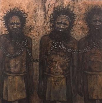 Jan Bird | Jandamarra's War | eco dye, charcoal & oil on canvas | 110 x 110 x 2cm | 2017