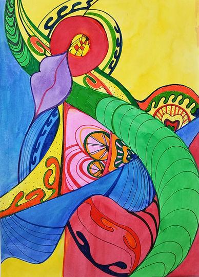Marina Lomakina, 'Circus', watercolour and makers, 2016