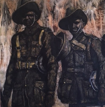 Jan Bird | Forgotten Heroes | eco dye, charcoal & oil on canvas | 110 x 110 x 2cm | 2017