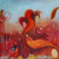 Susannah Paterson: How To Raise A Firebird, oil on canvas, 96 x 96cm, 2018