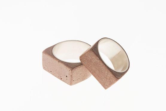 Melissa  Baldock | Convict Brick Ring  | Sterling silver, convict brick | 2 x 2 x 2cm | 2016