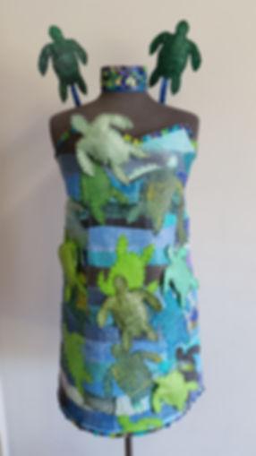 Turtle talk (2018) by textile artist, Karen Benjamin