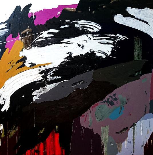 Jude Hotchkiss ~ Skyfuture ~ oli and medium on canvas ~ 122 x 122 x4cm ~ 2017