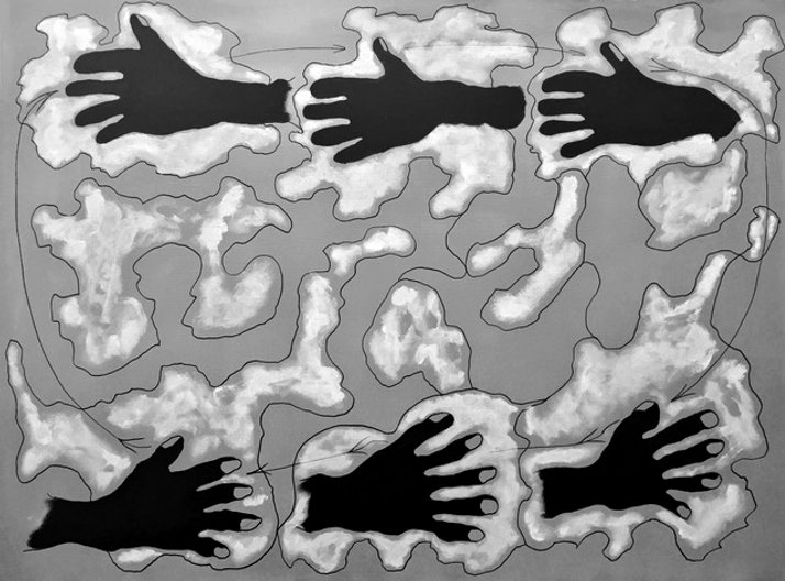 Stephen Way, Hands play with clouds, 75hx100w, mixed media
