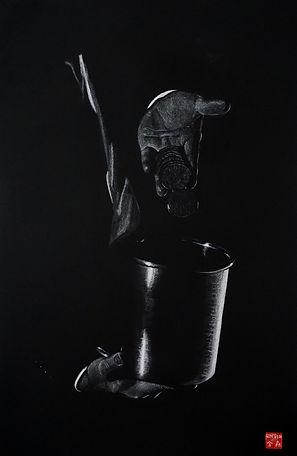Virginie Senbel-Lynch | Clink! Clink! | watercolour pencil on black paper | 48 x 73cm | 2017