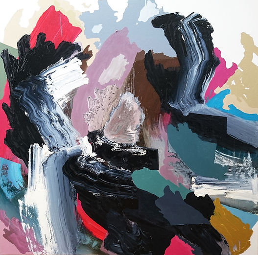 Jude Hotchkiss ~ Cloudforce ~ oli and medium on canvas ~ 122 x 122 x4cm ~ 2017