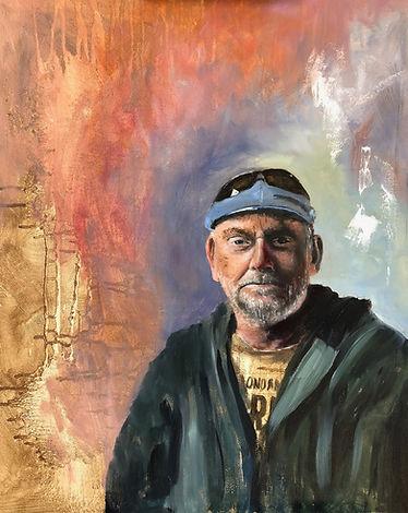 Mark Bagally, Self-Portrait, oil on board, 41 x 50cm, 2018