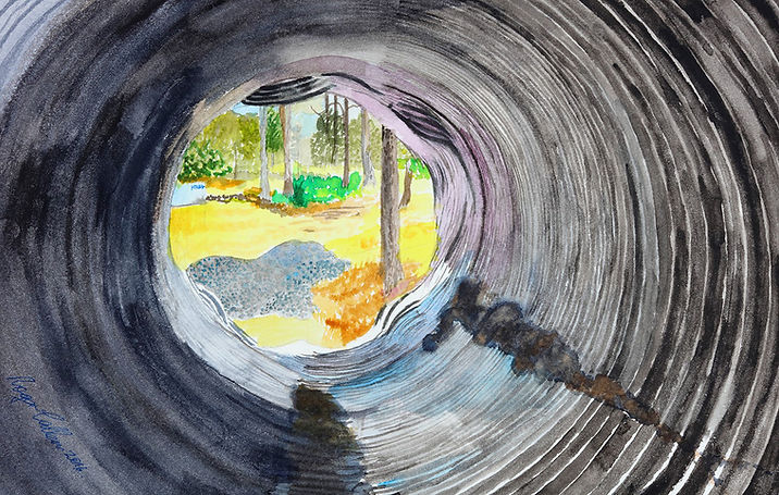 Artist Roger Callen, Scene through the pipe, watercolour on arches paper