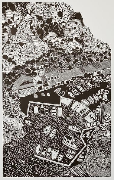 Loique Allain | Calanque de Morgiou | Linocut on Paper | 165 x 102cm | 2015