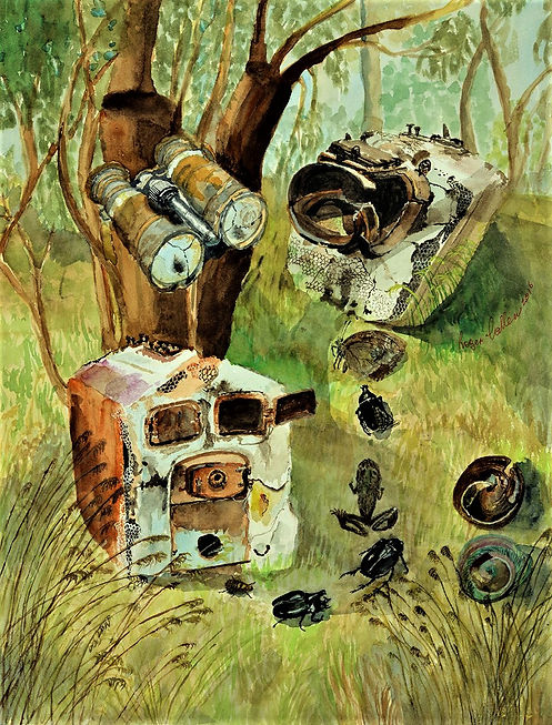 Artist Roger Callen, Nowhere to Go, watercolour on arches paper