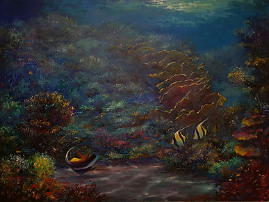 Eugene Rubuls | Chasing Coral | Oil on canvas | 122 x 92 x 3.5cm | 2017