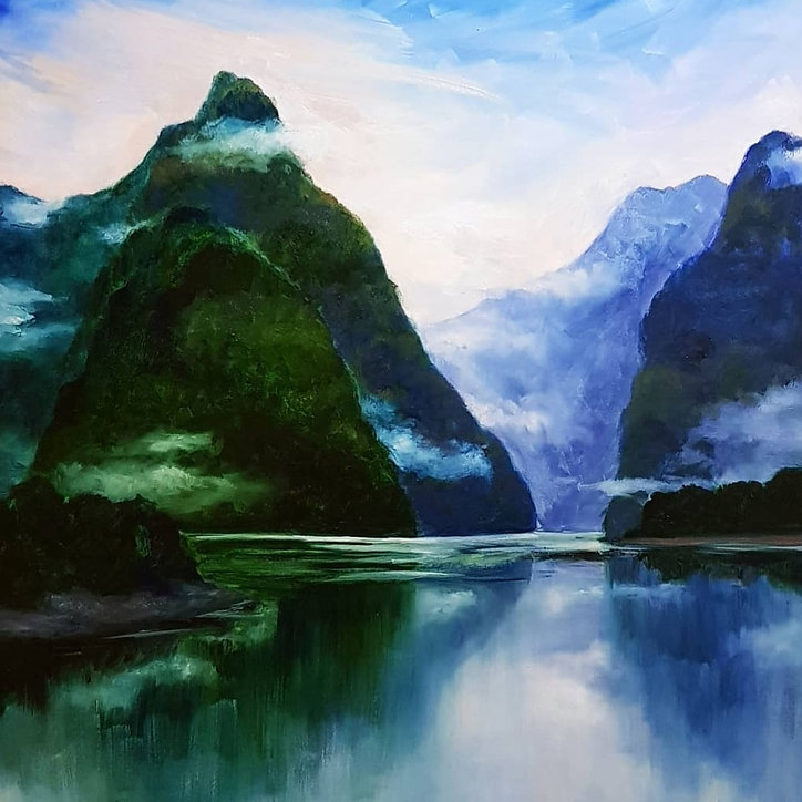 Jeannie Dolan, 'Misty Milford Sound', oil on canvas, 2019