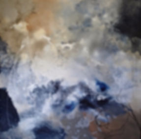 Christine Scurr | Floating in Indigo | Acrylic, oil pastel & pencil | 2016