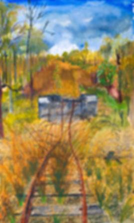 Artist Roger Callen, Absent Bridge, watercolour and gouache on arches paper