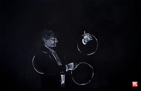 Virginie Senbel-Lynch | The Magician | watercolour pencil on black paper | 73 x 48cm | 2017