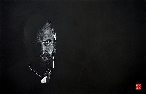 Virginie Senbel-Lynch   Into the Light   watercolour pencil on black paper   73 x 48cm   2017