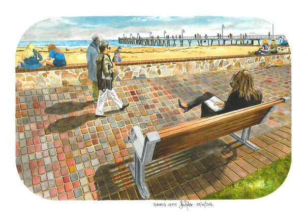 John Procter | Glenelg Jetty | Watercolour on cresent board | 69 x 59cm | 2016
