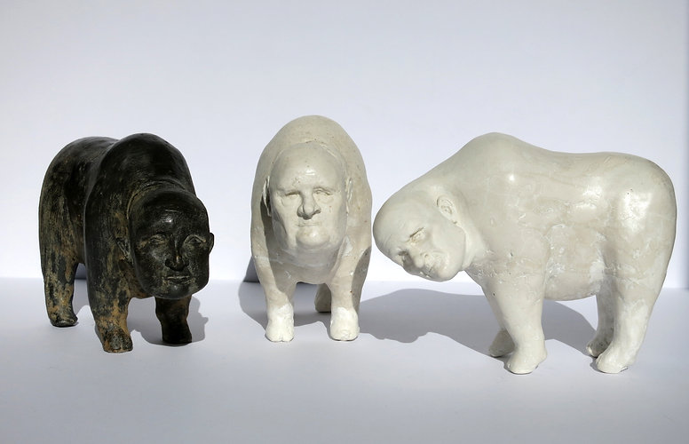 The Secret Conversation of Snow Yaks, sculpture created by New South Wales artist, Lauri smith - stone version