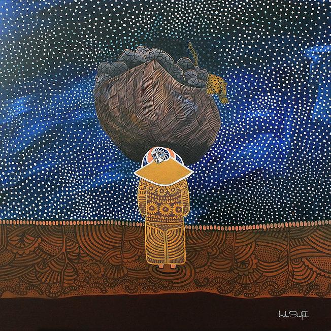 Helen Shadforth: Delayed Grief, 76x76cm, acrylic on canvas, 2019