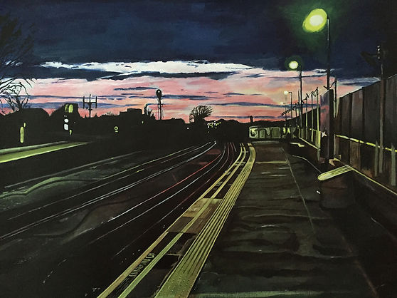 Samir Hamaiel | Stamford Brook Station | Acrylic on Canvas Paper | 59.4 x 42cm | 2015