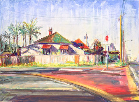 Kelly Southee | Annerley Junction: Before the Hail Storm Re-Roofing | 62 x 76cm | Soft Pastel on Sanded Card | 2015