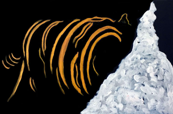 Stephen Way, Return tiger to mountain, 91 x 61cm, acrylic on canvas