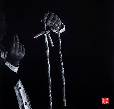 Virginie Senbel-Lynch | 1, 2, 3... | watercolour pencil on black paper | 48 x 48cm | 2017