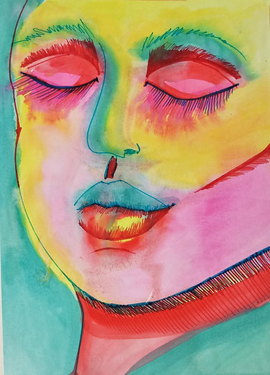 Marina Lomakina, 'Satisfactionl', watercolour and makers, 2016