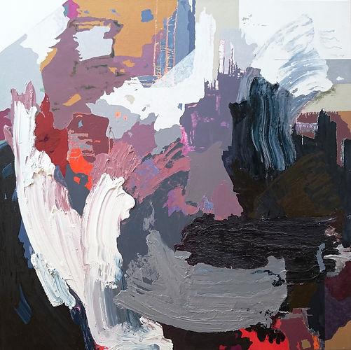 Jude Hotchkiss ~ Stormforce ~ oil and medium on canvas ~ 122 x 122 x 4cm ~ 2017