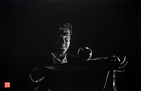 Virginie Senbel-Lynch | Levitating Ball | watercolour pencil on black paper | 73 x 48cm | 2017