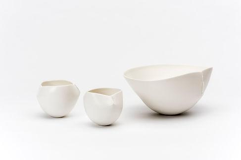Keiko Matsui | Scar Bowls | Porcelain & White Matt Glaze | 10-23 Diameter x 11-18cm Height | 2015