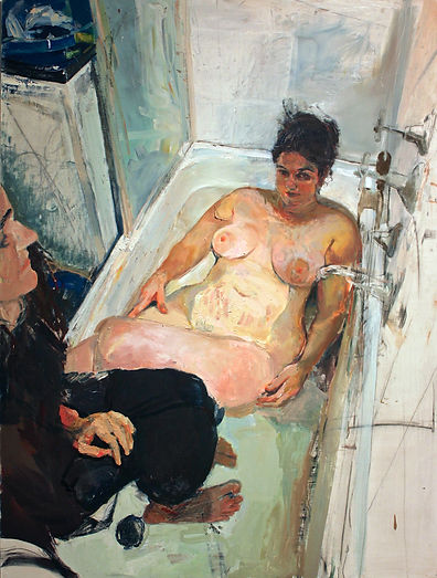 Contemporary Art Awards 2016 Highly Commended | Vrinda Gleeson | Bath-Time | Oil, charcoal, and acrylic on board | 90 x 120cm
