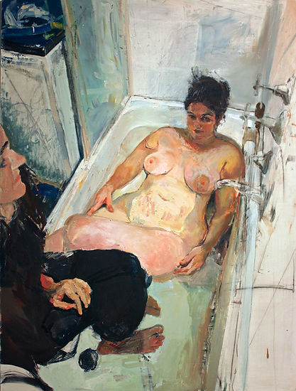Vrinda Gleeson | Bath-Time | Oil, charcoal, & acrylic on board | 90 x 120cm | 2015