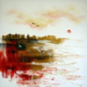 Cathy Yarwood-Mahy | Tangerine Sun | Acrylic on canvas | 76 x 76cm | 2016
