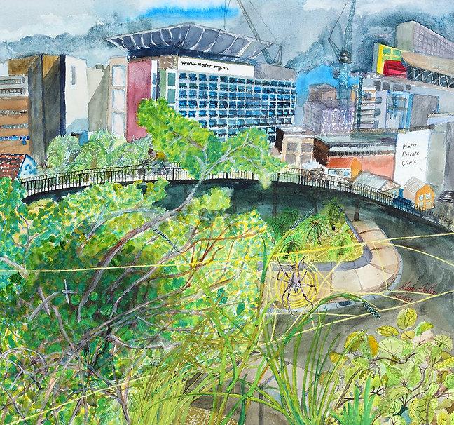 Artist Roger Callen, Mothers Rebuilding, watercolour and gouache on arches paper