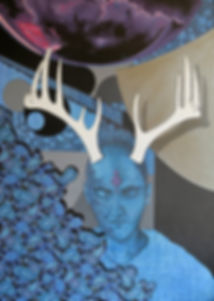 Adam Pearson | Self Portrait on Winter | 91 x 122cm | mixed media on canvas | 2017