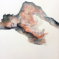 Aleta  Lederwasch | Man in Mountain | Gouache and pencil on paper | 30 x 40cm | 2016