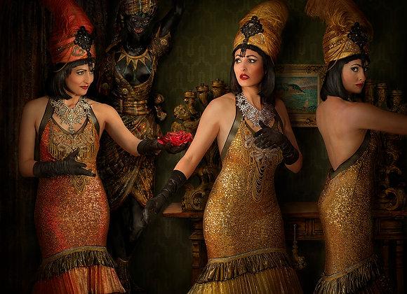 daniel kneebone, burlesque, gold, artwork, photography, photograph, model, the world of burlesque, feminine, sexy, buy art