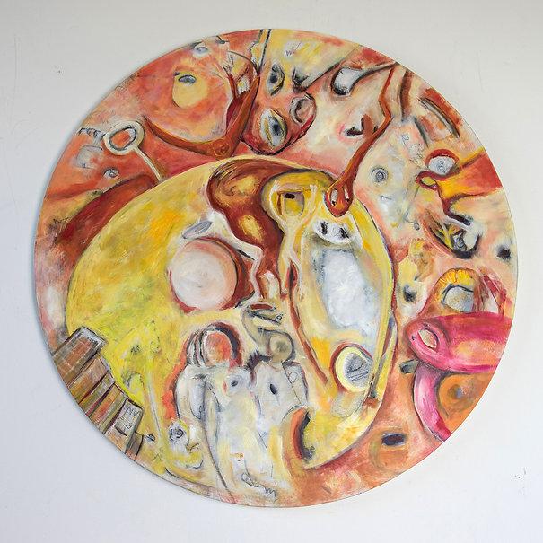 Susannah Paterson, 'Moving To Australia', oil on round birch panel, 2018