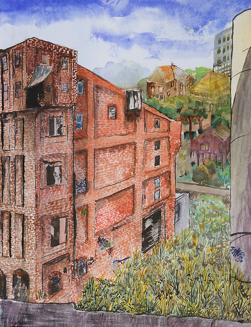 Artist Roger Callen, Before the Fire, watercolour on arches paper