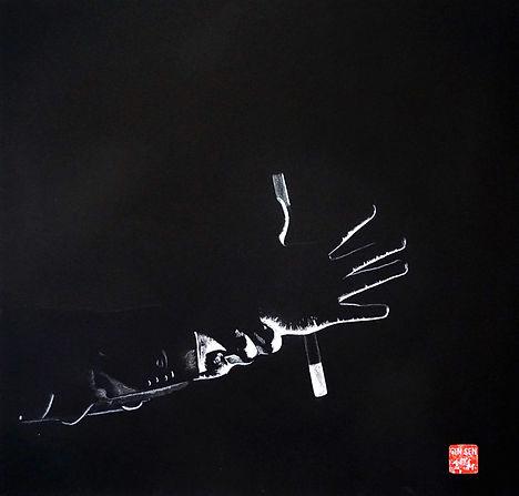Virginie Senbel-Lynch | Wand Magic | watercolour pencil on black paper | 48 x 48cm | 2017