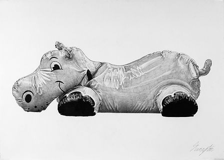 Daniel Sherington | Hippo in Plastic | Ink on arches paper | 87 x 113cm | 2017