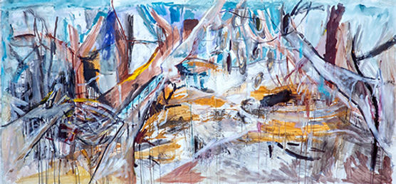 Rosie Lloyd-Giblett   Riverbed west past Fowlers Gap   acrylic on canvas   200 x 90cm   2017